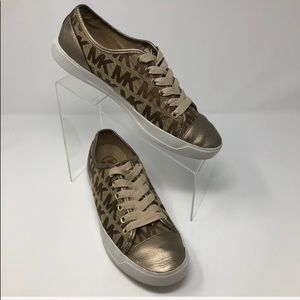 Michael Kors Logo Fabric Leather Tennis Shoe 9